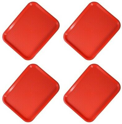 Sunnex Pequeño Rojo Plástico Alimentos Bebidas Snack Bandejas Servir Rápido De 4