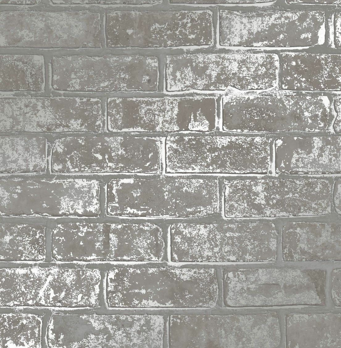 Metallic Grey Silver Brick Wall Luxury Heavyweight
