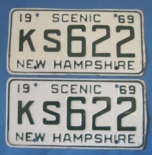 1969 New Hampshire License Plates matched pair