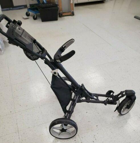 CaddyTek Golf Push Cart Swivel Front Wheel Blue Lime DG Silver Cup/Umbrella