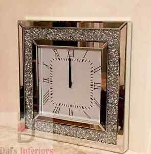 Stunning Diamond Crystal Bevelled Mirrored Glass Square WallClock 50x50cm Silver