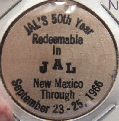 1966 Jal, NM 50th Anniversary Wooden Nickel - Token New Mexico