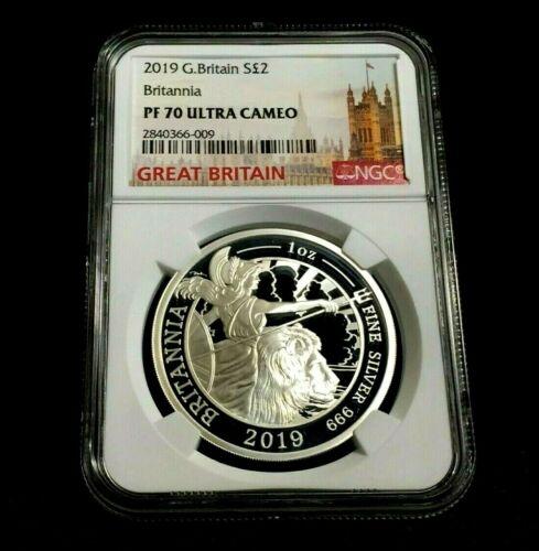2019 Britannia NGC PF70 1 oz 2£ Great Britain Silver Coin COA # 043