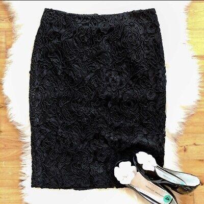 NWT Talbots Black Lace Pencil Skirt Size 4