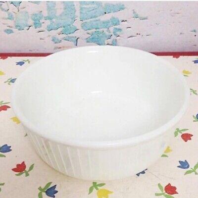 Hard Casserole Dish (Vintage White Pyrex Soufflé Round Baking Dish Casserole Rare HTF Hard To Find )