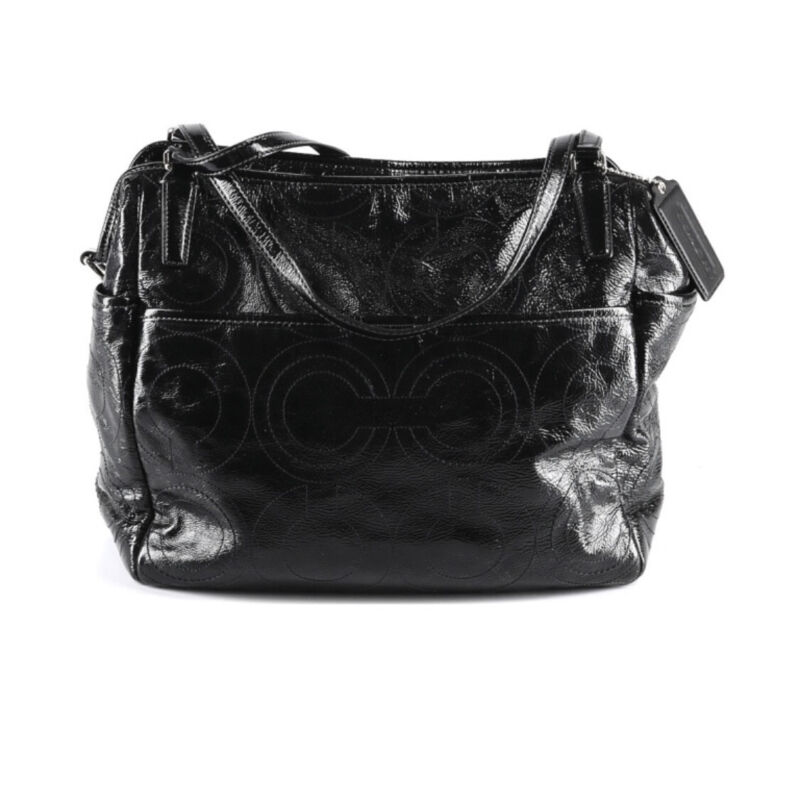 Coach Signature Stitched Patent Leather Diaper Bag Purse With Changing Pad Black