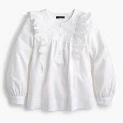 NWT J Crew Petite Ruffle Front White Shirt Size 8P -