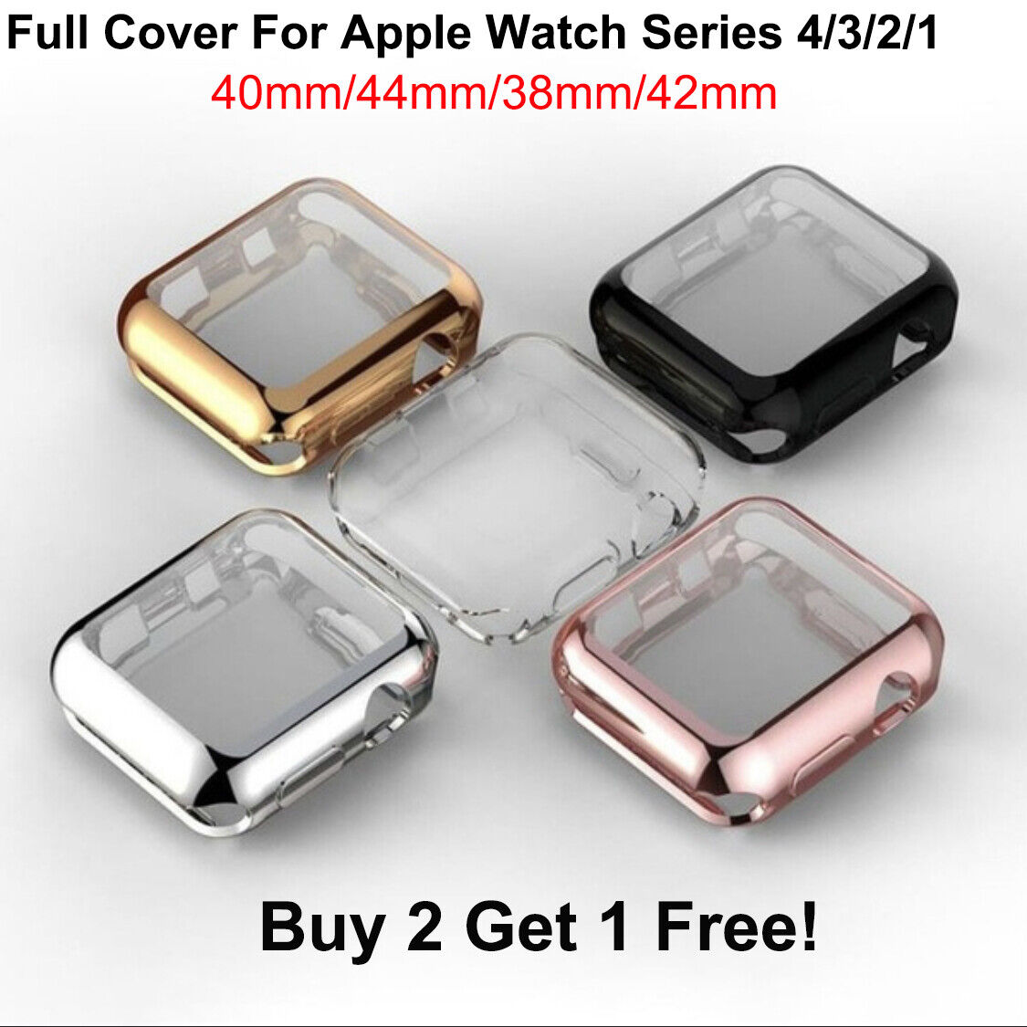 For Apple Watch 4 3 2 1 TPU Case Cover Screen Protector iWatch (38/42mm 40/44mm) Cases, Covers & Skins