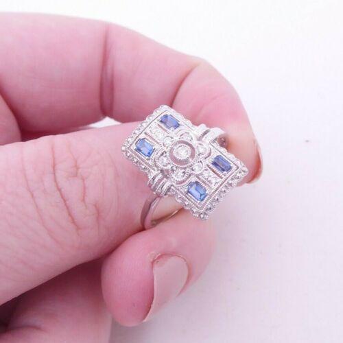 18ct gold sapphire diamond ring, art deco design