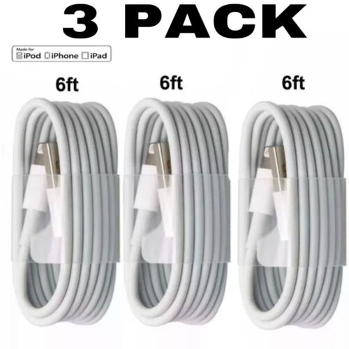 3-PACK 6FT USB Charging Charger Cables Cords For iPhone 11 X XS 8 7 6 5 Plus
