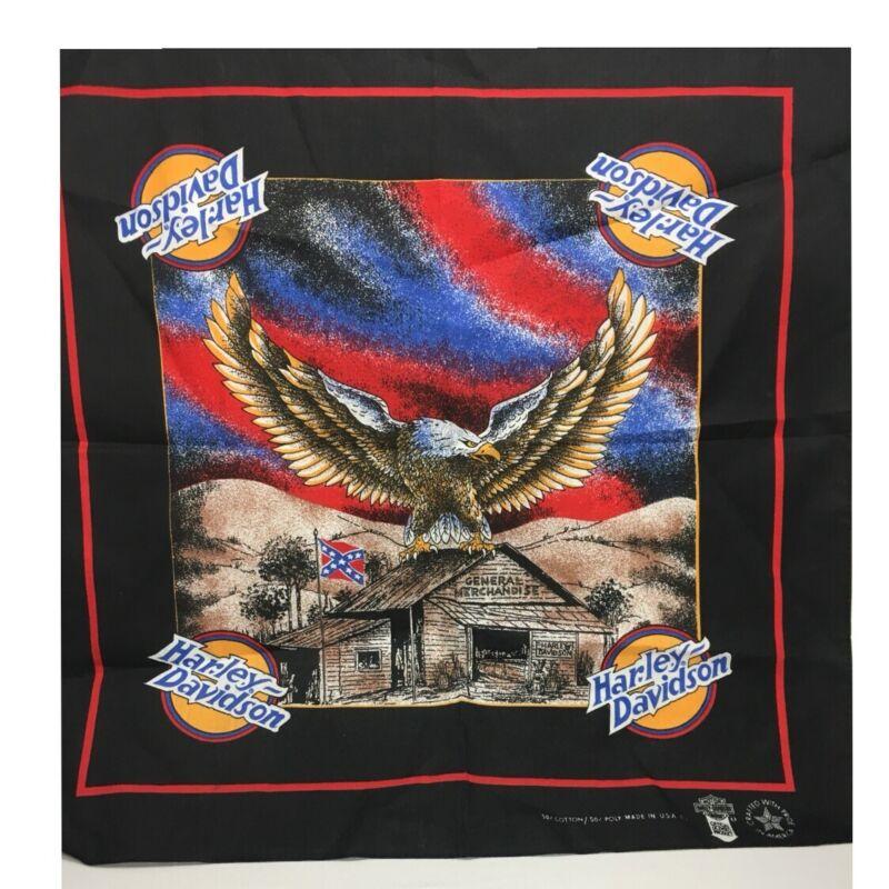Vintage Harley Davidson Kerchief Bandana Scarf With Eagle American & Flag