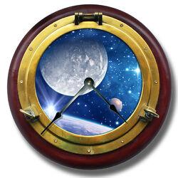 10.5 Moon Galaxy Brass Porthole Wall Clock - Celestial Home Wall Decor 7138_FT
