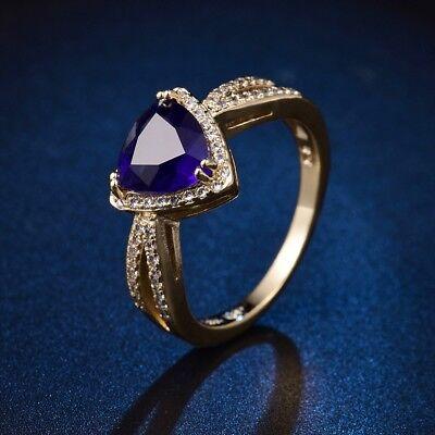 Best Bride Wedding Blue Sapphire Crystal 18K Gold Platinum Filled Eternity (Best Gold Wedding Rings)