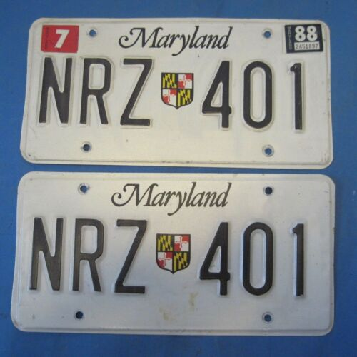 1988 Maryland License Plates matched pair with state shield