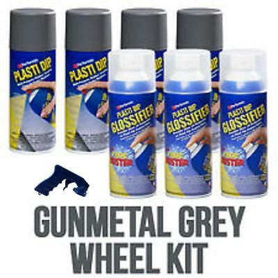 Performix Plasti Dip Gloss Wheel Kit 4 Gunmetal Gray 3 Glossifier Aerosol Grip