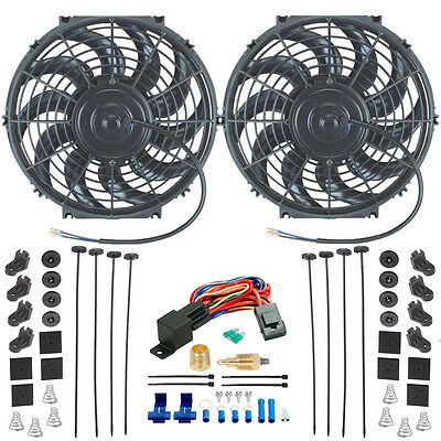 """DUAL 12"""" INCH ELECTRIC RADIATOR PULLER POWER FAN 1/2"""" INCH THERMOSTAT GROUND KIT"""