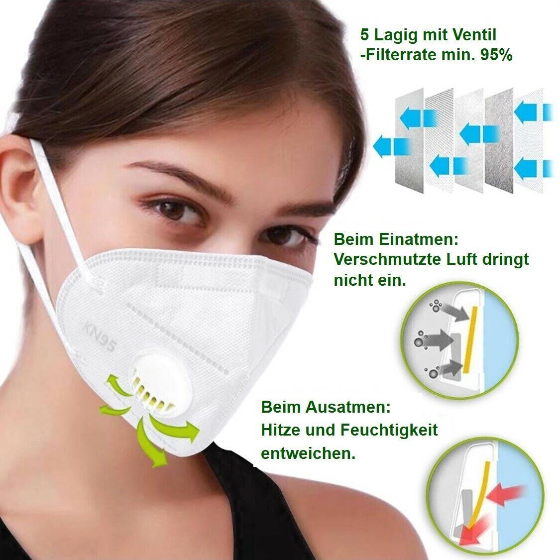 FFP2 Ergonomisch geformte Atem Maske Schutzmaske Mundschutz 5 Lagig mit Ventil