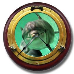 10.5 Dolphin Brass Porthole Wall Clock - Home Wall Decor - 7135_FT