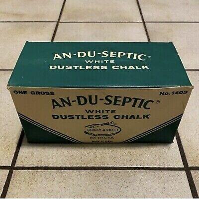 AN-DU-SEPTIC White Dustless CHALK #1403, 1 Gross CARTON, (144 pc) - NOS Vintage!