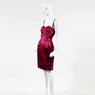 - Dolce & Gabbana Hot Pink Satin & Lace Trimmed Strapless Dress SZ 42