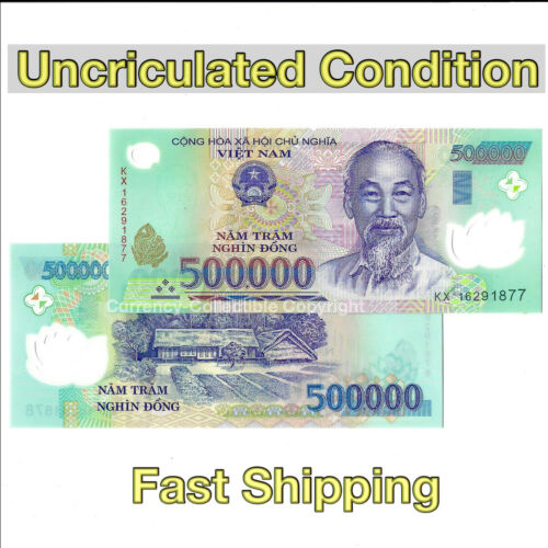 1 Million Vietnamese Dong (500000 VND x 2) - Vietnam Banknotes Currency with COA