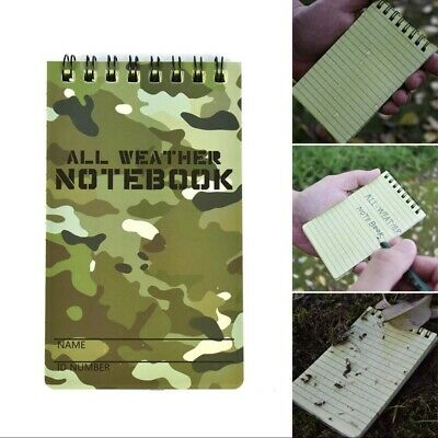 Tactical Notebook All Weather Waterproof Writing Paper Military Outdoors Camping