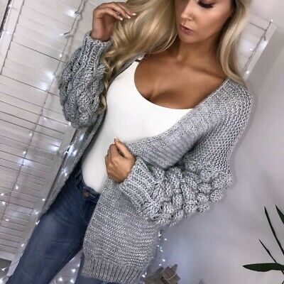 Womens Bobble Bubble Sleeve Knit Cardigan Ladies Chunky Knit Jumper Sweater Top