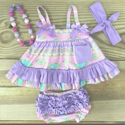 Infant Toddler Girl Baby Girls  Purple Tribal Swing Top Boutique Outfit