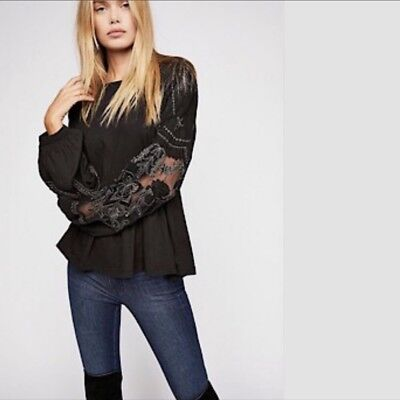 NWT FREE PEOPLE Embroidered Penny Tee Shirt Top Black LARGE L $98 OB