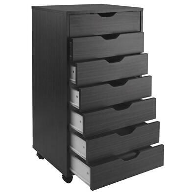 Winsome Halifax Cabinet for Closet/Office with 7 Drawers Black Finish