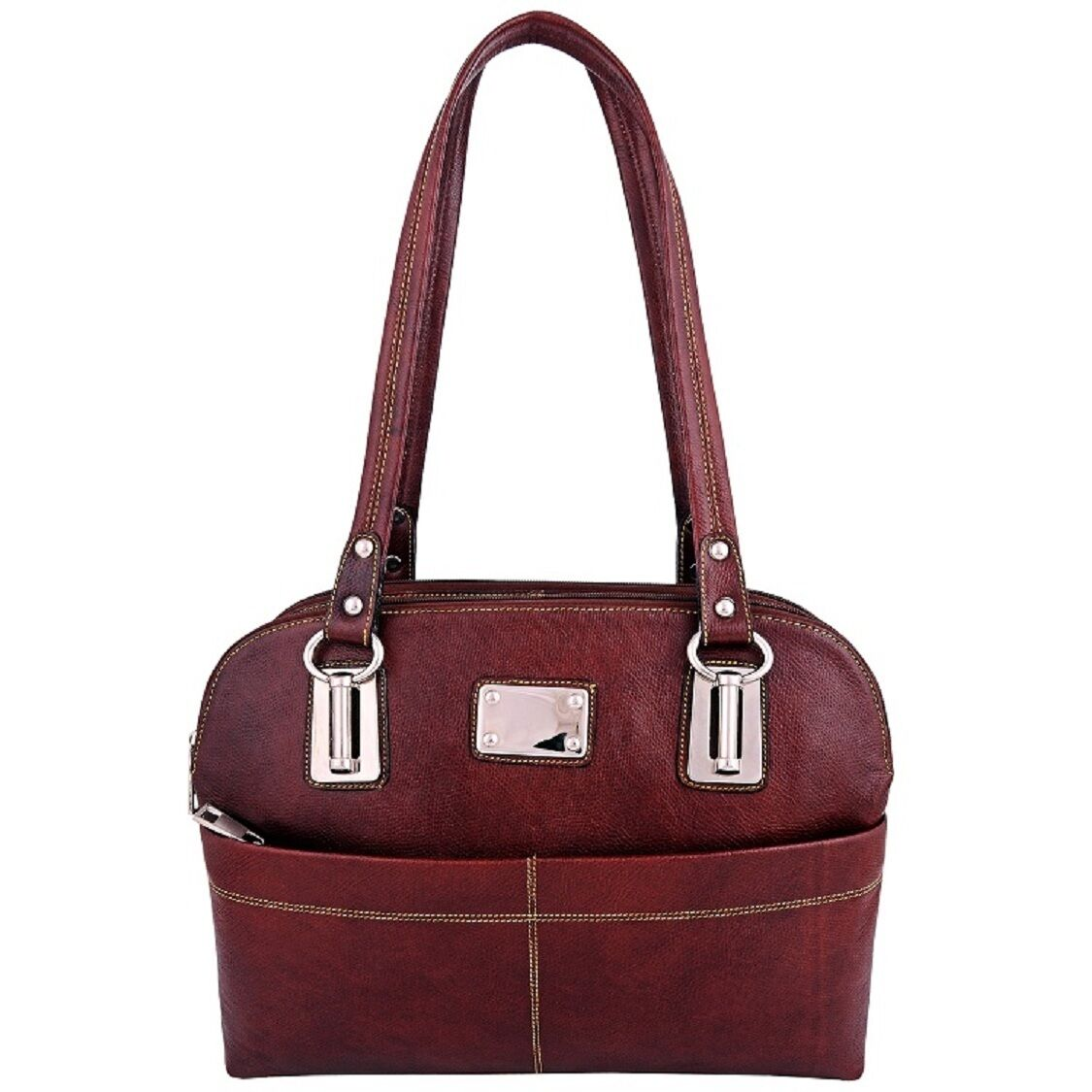 ZINT Genuine Leather Womens Handbag Brown Ladies Purse Shoul