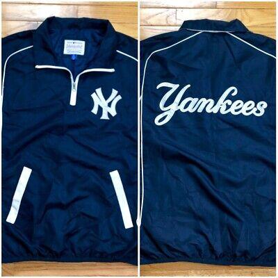 Vtg 90s New York Yankees Baseball 1/4 Zip Pullover Windbreaker Jacket Mens M