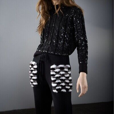 NWT Izaak Azanei Black Cable Knit Sequin Jumper / Sweater Size M