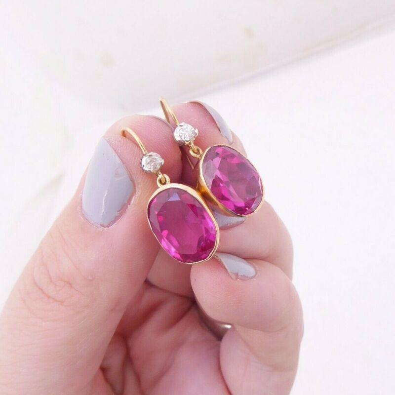 18ct gold ruby diamond earrings, large