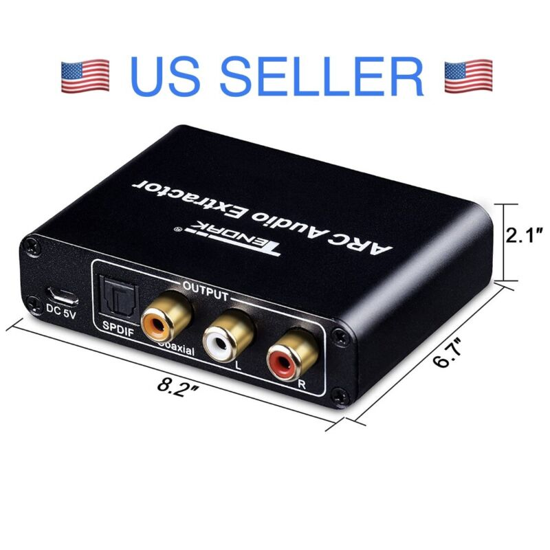 ARC Audio Extractor with Digital Optical TOSLINK SPDIF/Coaxial & Analog 3.5mm