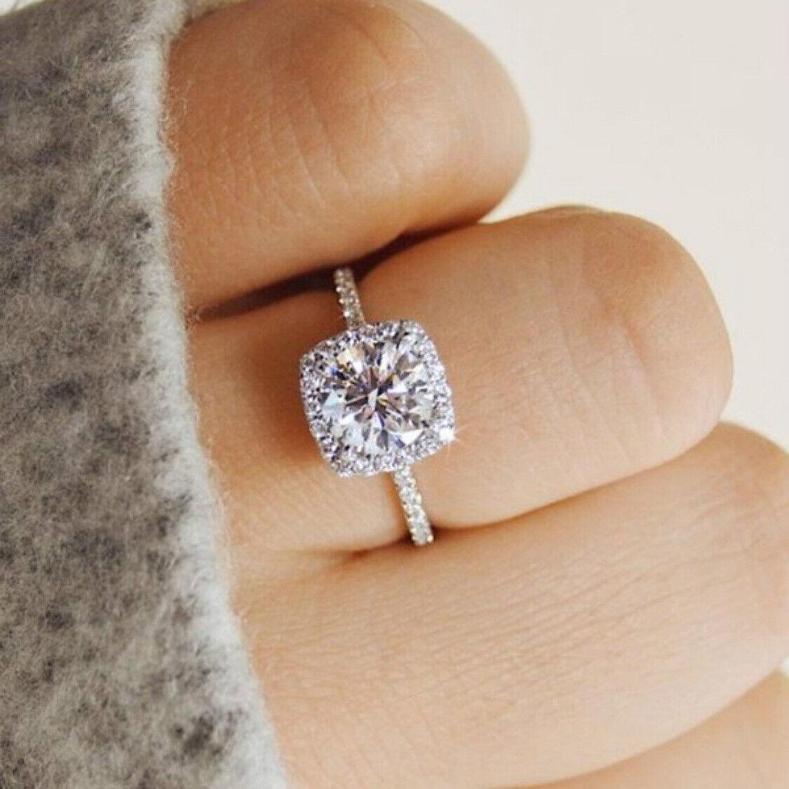 2Ct Round Cut Diamond Halo Unique Women's Engagement Ring 14k White Gold Finish