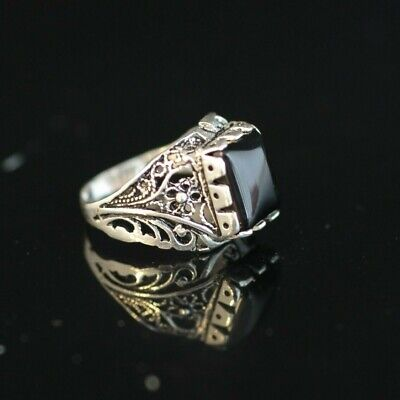 Mens Sterling Silver Onyx Ring (Turkish Handmade Jewelry 925 Sterling Silver Onyx Men's Ring Size 9 10 11)