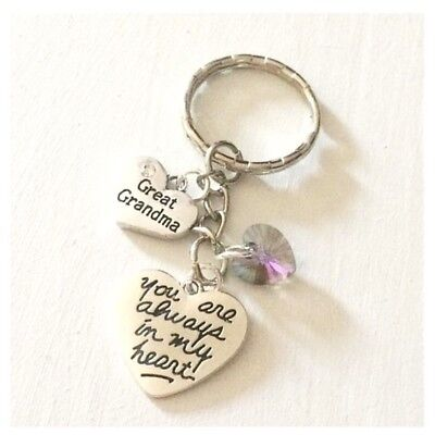 Great Grandma You Are Always In My Heart Keychain Gift Swarovski Charm ()