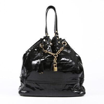 Yves Saint Laurent Rive Gauche Overseas Tote Bag Black Patent Leather