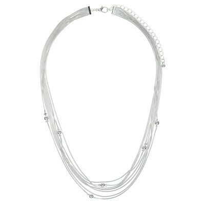 Layered Multi Strand Snake Chain Necklace With Beaded Decor In Silver Tone
