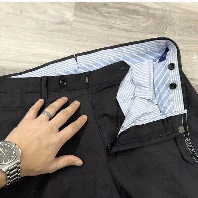 INCOTEX Super 100's High Comfort Charcoal Gray Wool Pants Mens Size 33 X 30