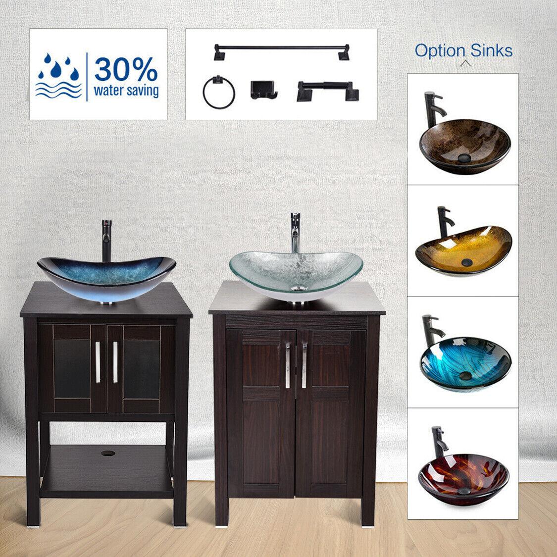 24'' Bathroom Vanity Single Cabinet Wood Top Vessel Sink Fau