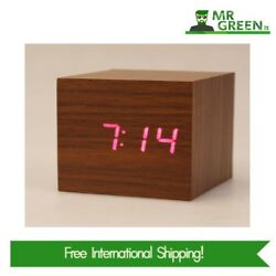 Digital Desktop Alarm Clock HIGH QUALITY Mini Wooden Clock 3 x AAA / USB Powered