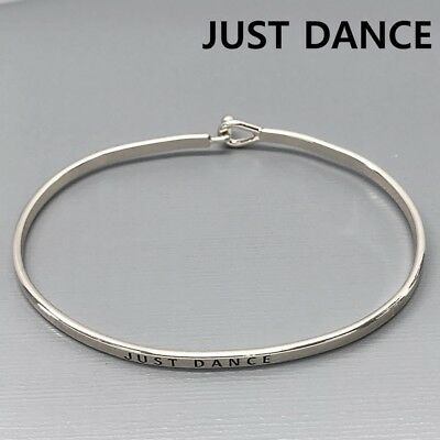 Silver Finish JUST DANCE message  Engraved Classic Brass Bangle Bracelet ()