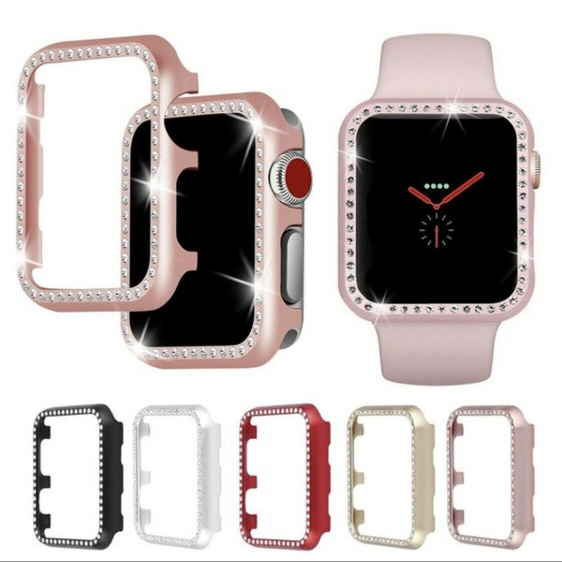 For Apple Watch Series 1/2/3/4 Diamond Bling Metal Crystal iWatch Protector Case Cases, Covers & Skins