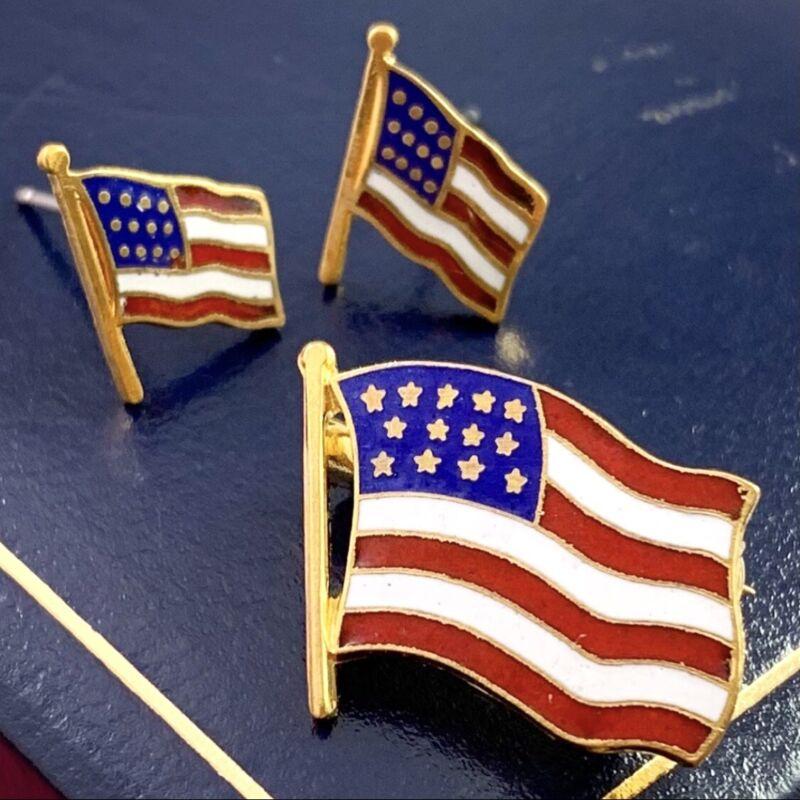 VINTAGE AMERICAN FLAG PIN BROOCH EARRING SET JEWELRY PIERCED EARS PATRIOTIC