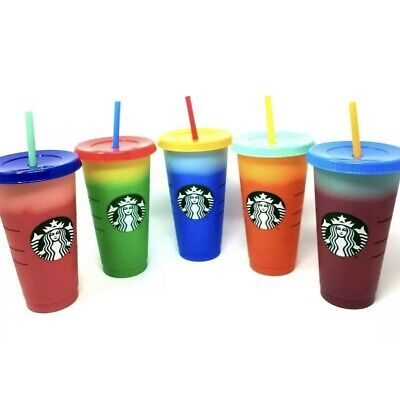 Starbucks Cold Color Changing Cups Reusable 5-Pack Or Single 24oz Rare Brand New