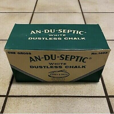 Vintage AN-DU-SEPTIC White Dustless CHALK #1403, 1 Gross CARTON, (144 pc) - NOS