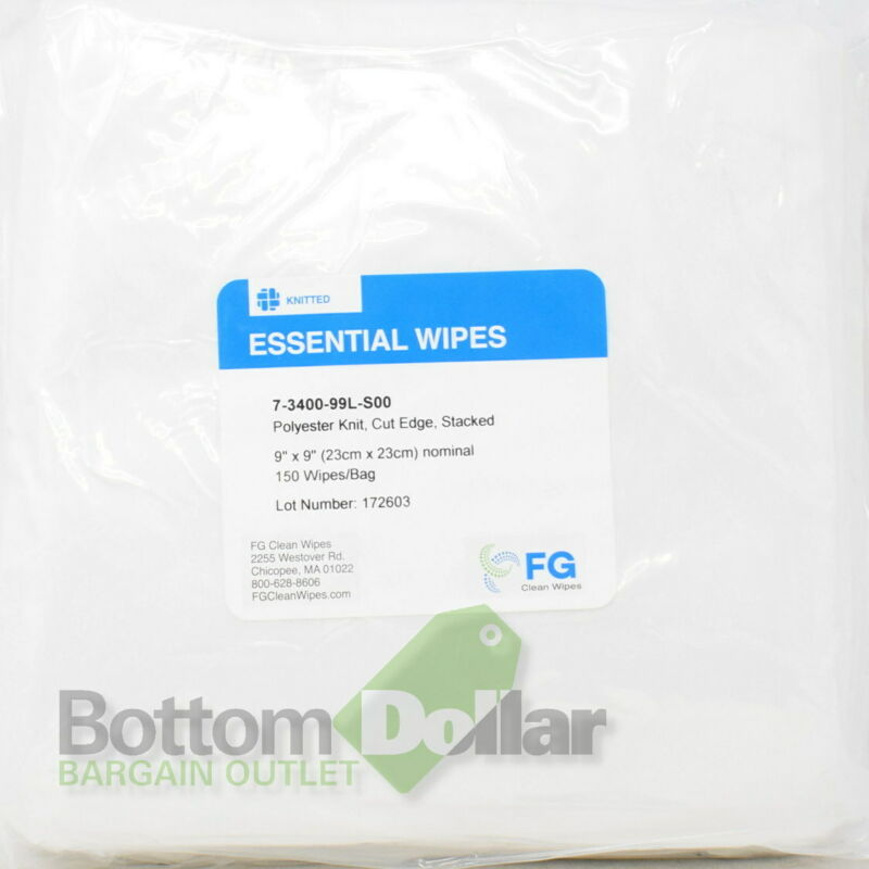"""FG Clean Wipes 7-3400-99L-S00 9"""" x 9"""" 150/Bag Essential Polyester Knit Wipes"""