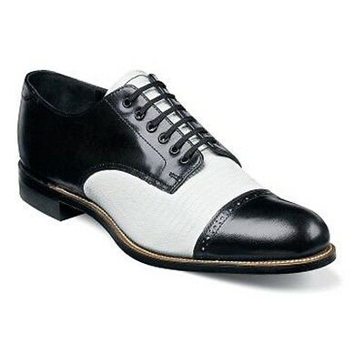 Mens Stacy Adams Madison Lizard Print Biscuit Shoes Black White Dressy  00049-21